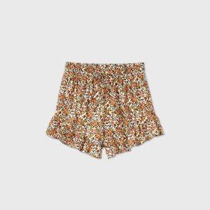 Women's Highrise drawstring waist ruffle shorts